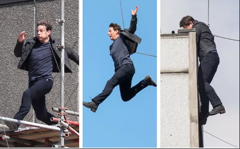 The moment when Tom's stunt went wrong, leaving him with a broken ankle