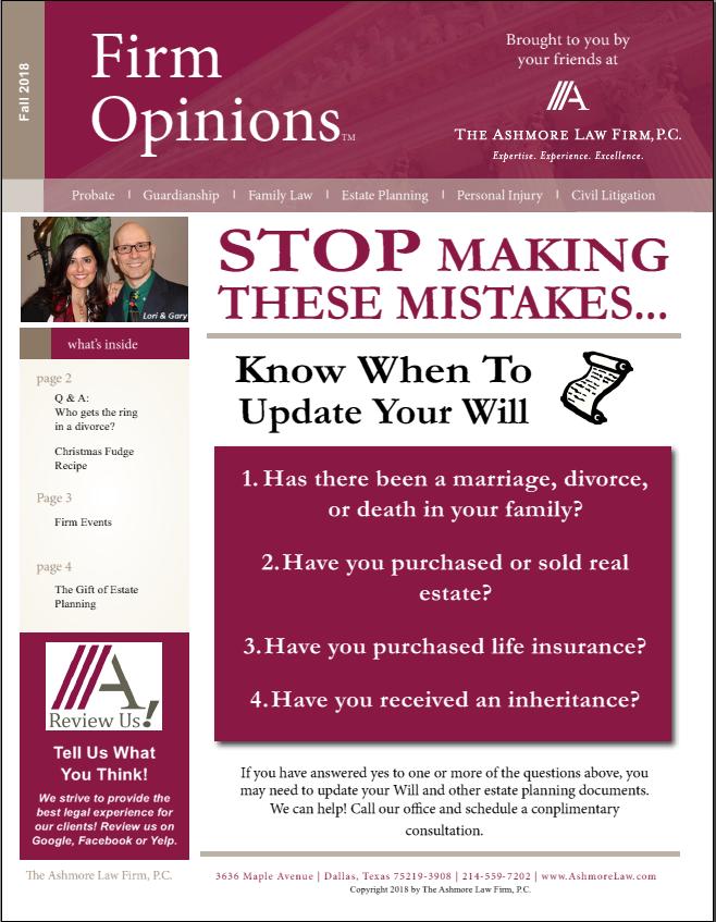 Fall Newsletter Legal News Attorney