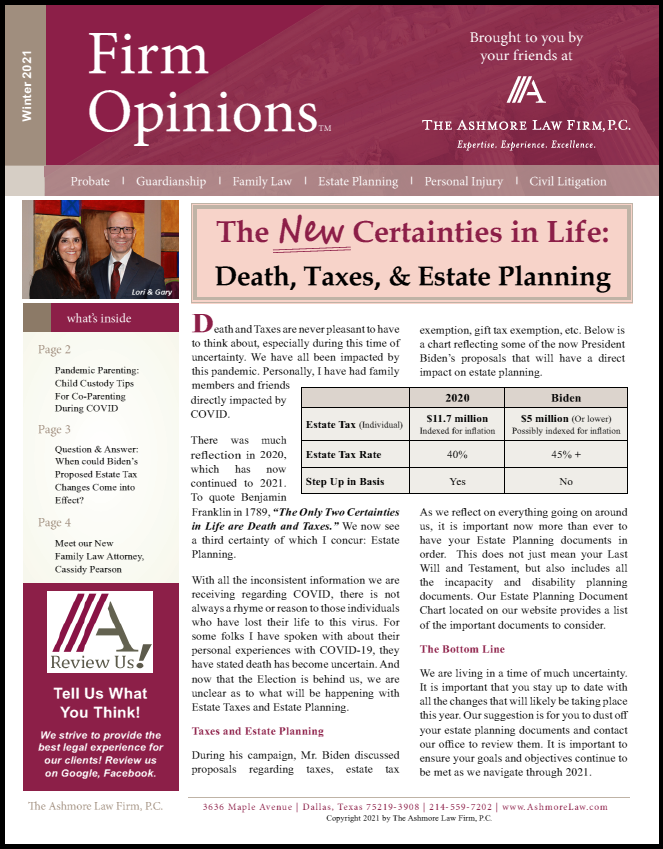 Winter 2020-2021 Newsletter The Ashmore Law Firm