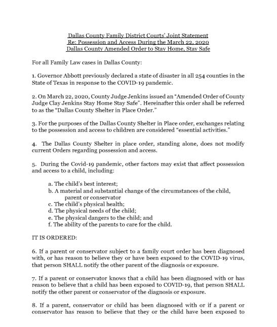 Child Possession and Access Order Dallas