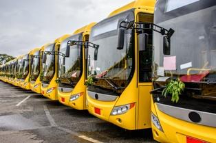Fleet of Shuttle Vehicles in a Parking Lot