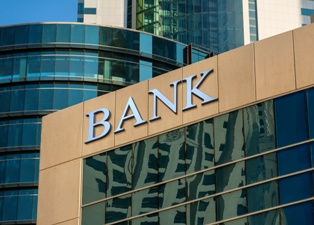 Bank Building in a City Setting