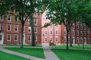 Two Brick Buildings on a College Campus