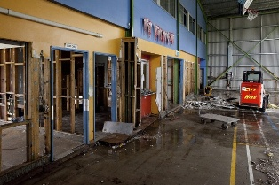 School Room With Significant Damage After a Hurricane