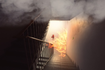 Staircase Fire in a Medical Building