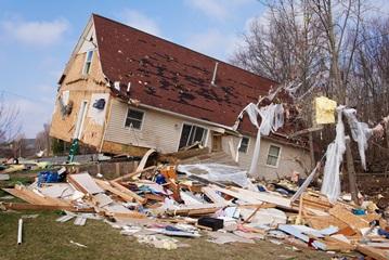 Remnants of a House in Alabama After a Devastating Tornado