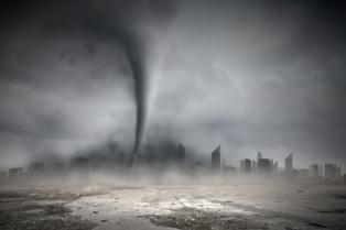 Large Tornado Heading Toward a Busy City