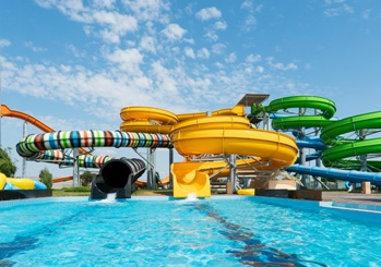 Water Park Slides and Pool at a Park