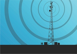Illustration of signal transmission from a cell phone tower