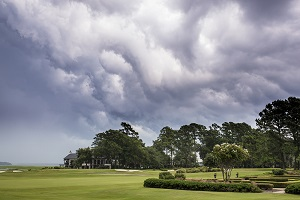 A severe thunderstorm forms above a gold course