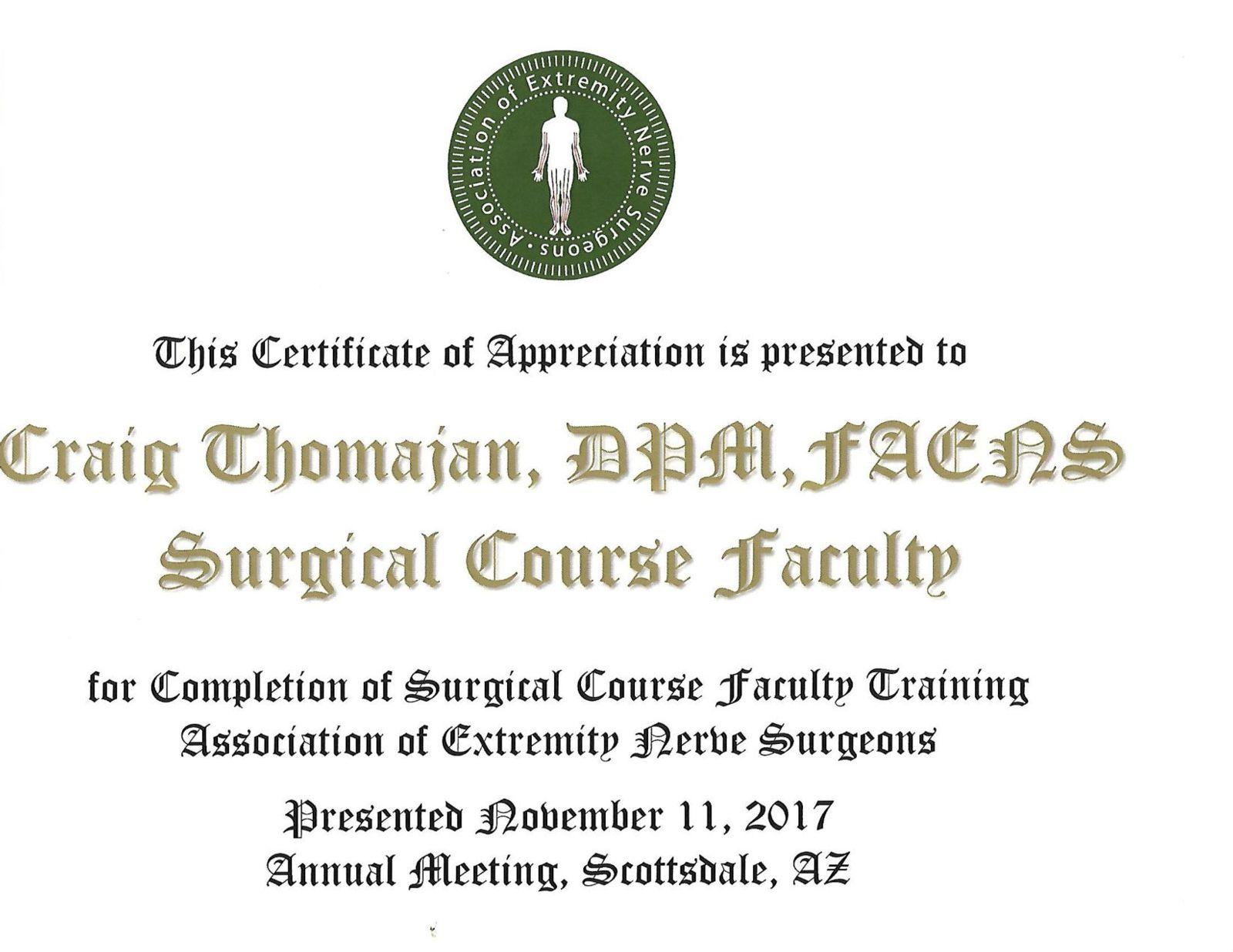 nerve pain certificate