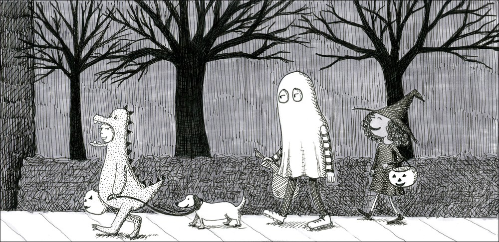 Cartoon of Trick-or-Treating Children