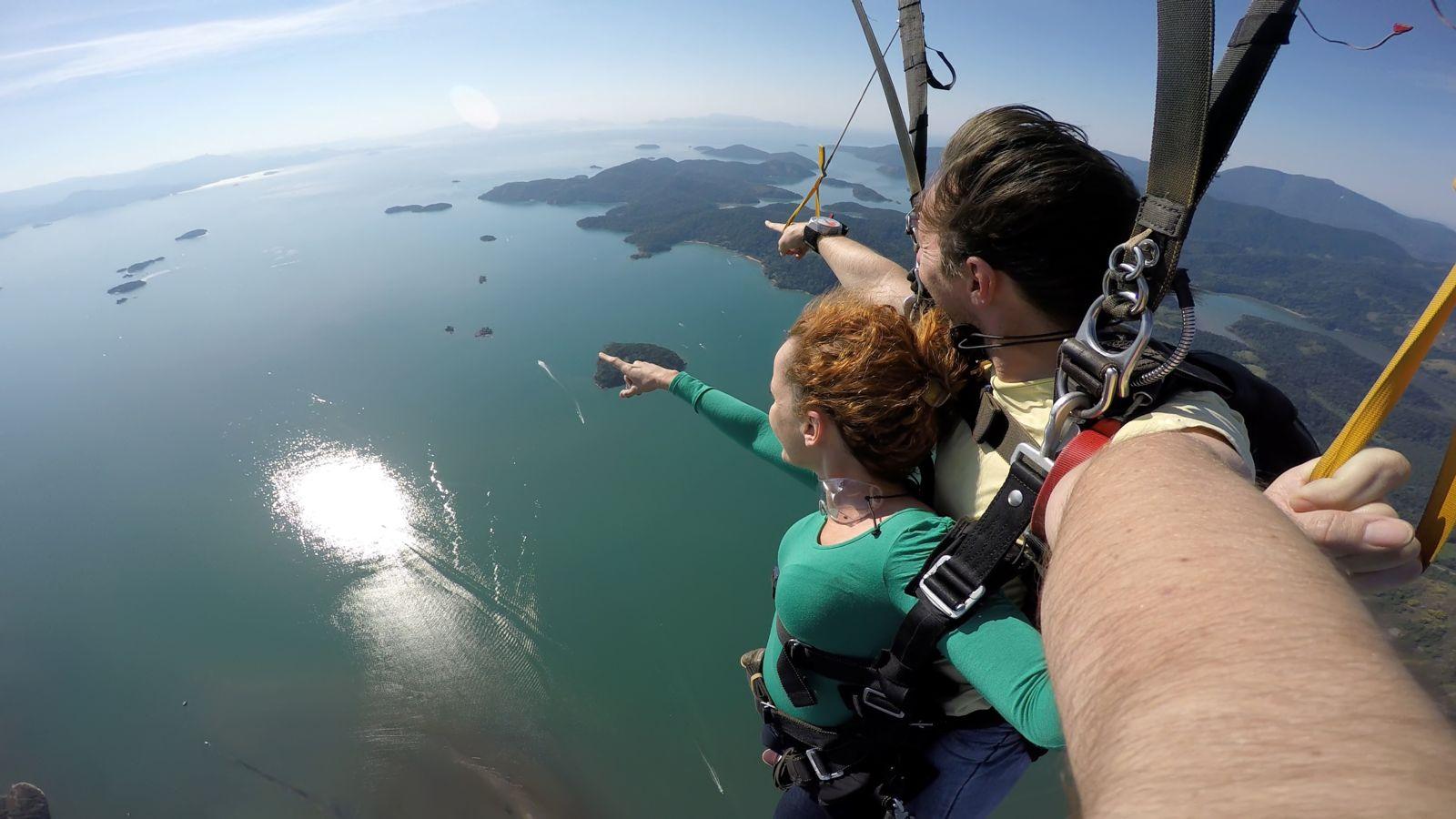 Skydivers taking a selfie