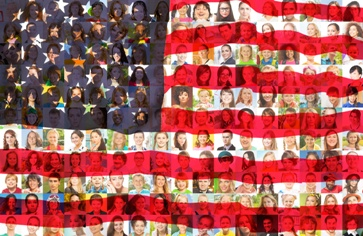 American Flag Background With Portraits