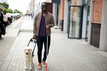 Blind Man Walking Down the Street With His Seeing Eye Dog
