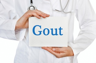 Doctor Holding a Gout Sign