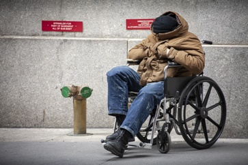 Disabled Homeless Man in a Wheelchair
