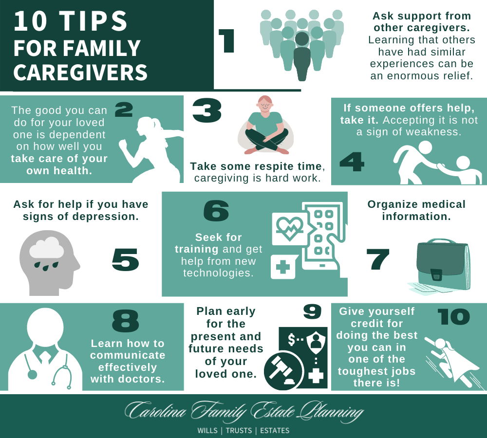 10 tips for family caregivers infographic