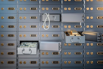 Safe deposit box with money, jewelry, and gold