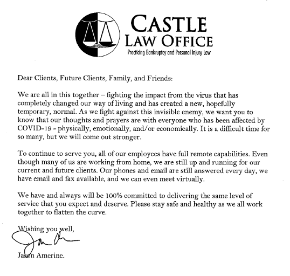 COVID-19 Update & Message from Castle Law