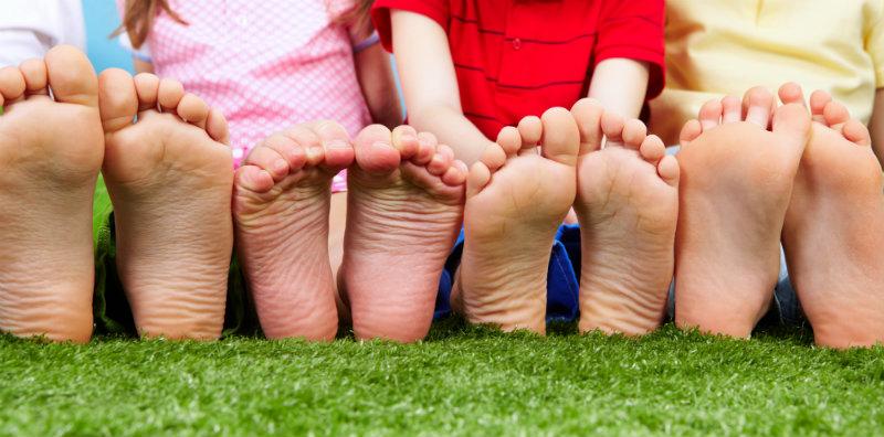 Kid's Feet Outside