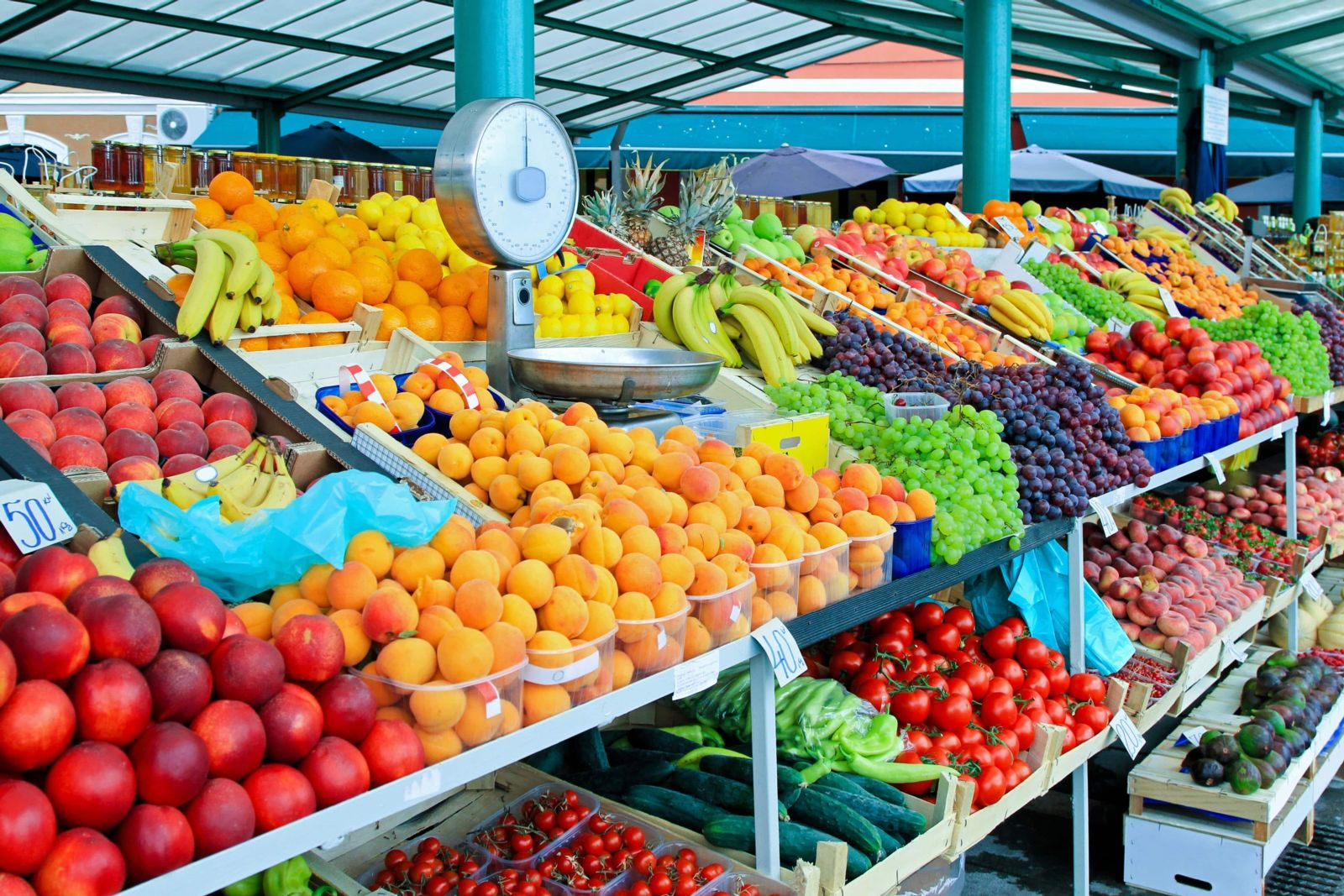 farmers market with variety of colorful fruits