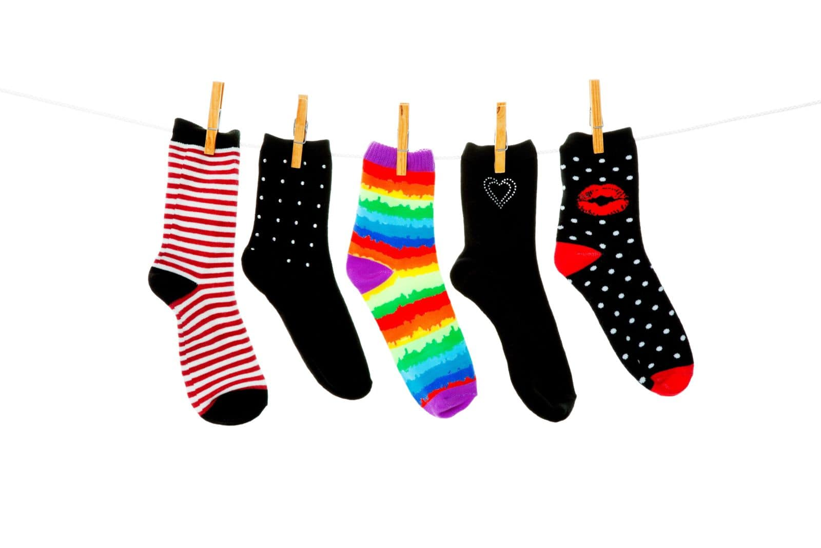 graphic image of socks hanging on a clothesline