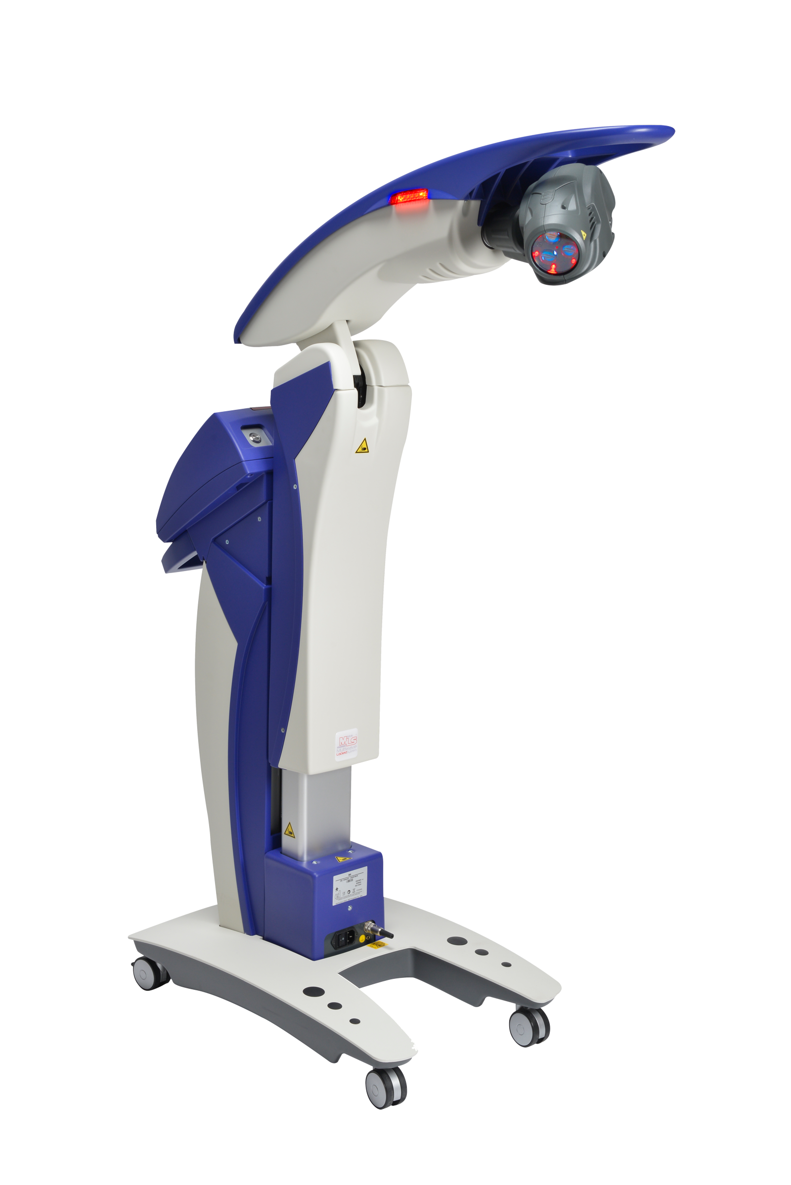 image of the MLS Laser - a blue and white tall, thin machine with a grey head and is on wheels