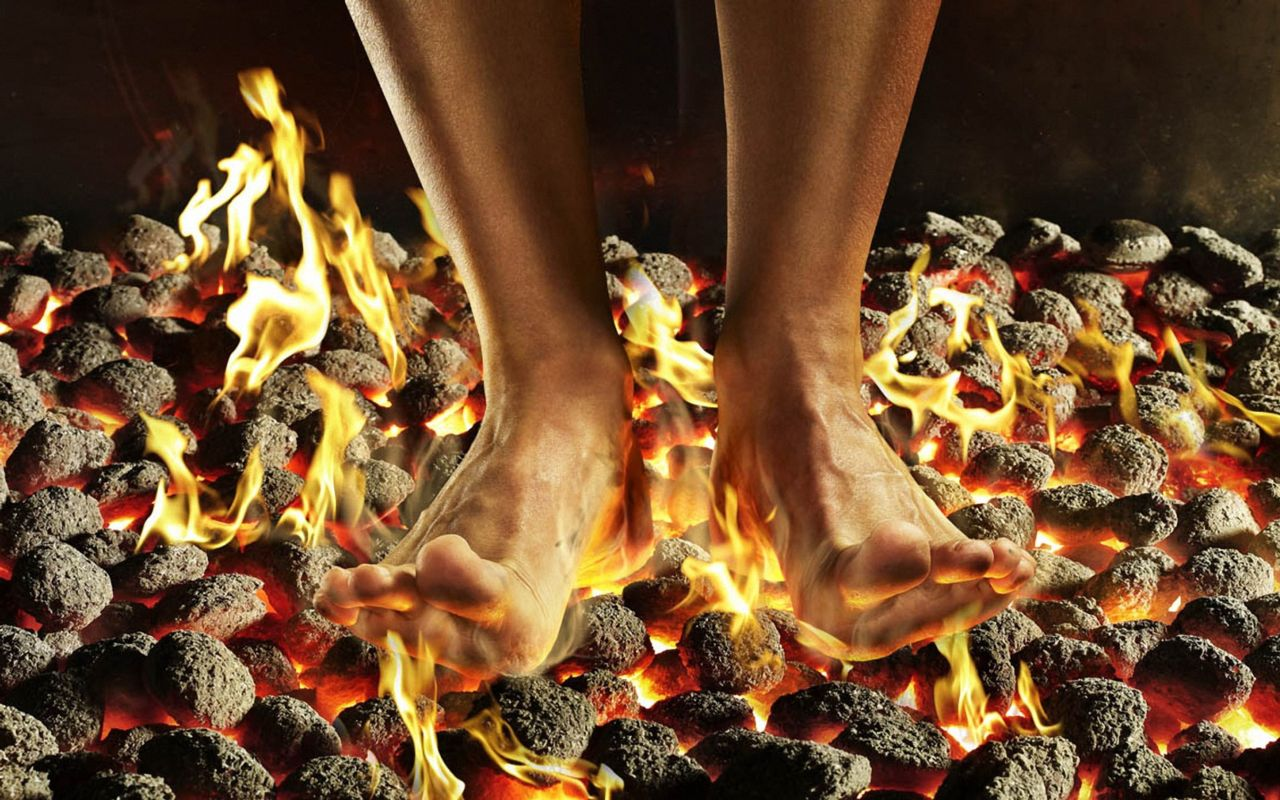 Picture of Barefoot standing on hot flaming coals
