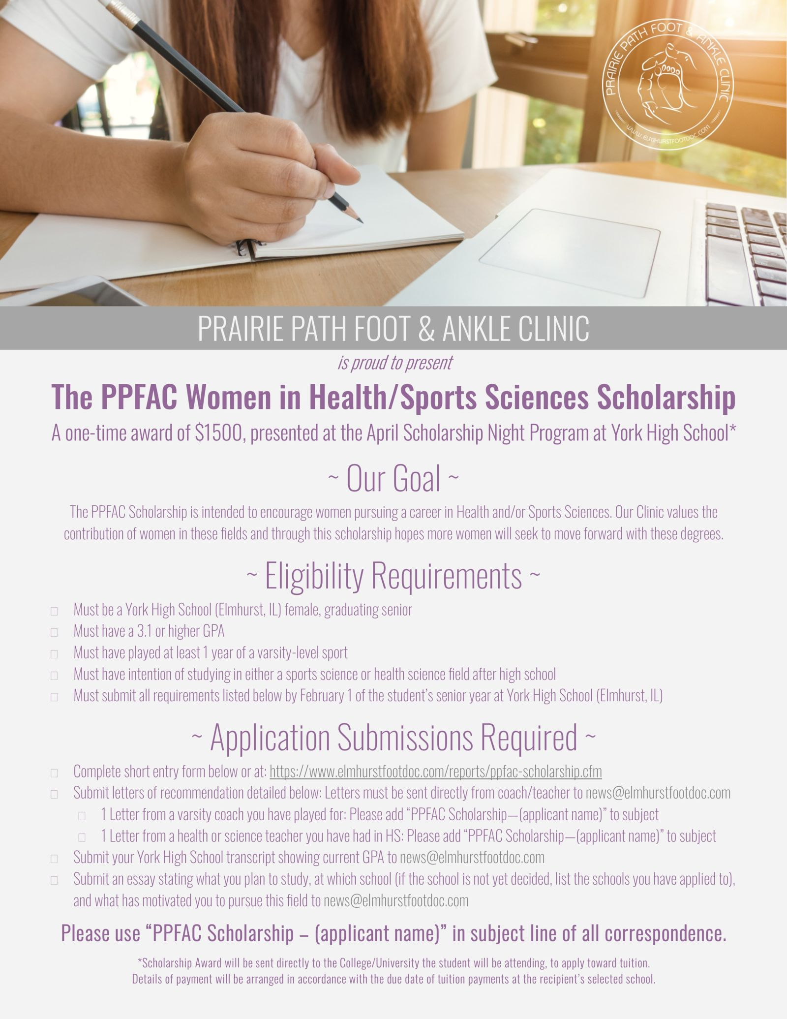 PPFAC Scholarship Application Details and a picture of a girl studying