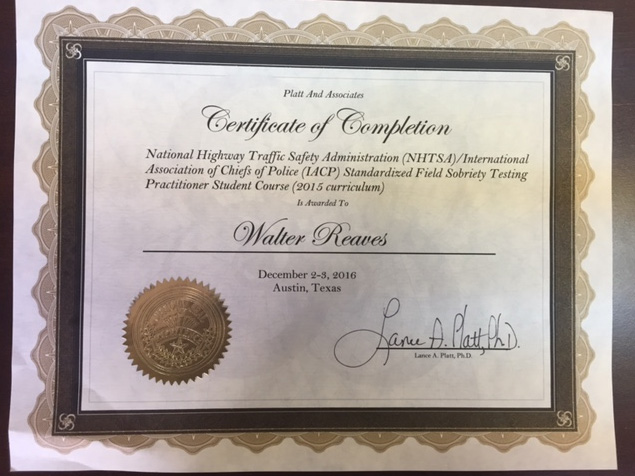 NHTSA certification for Walter M. Reaves
