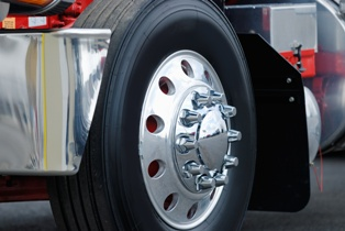 Close up of semi truck tires
