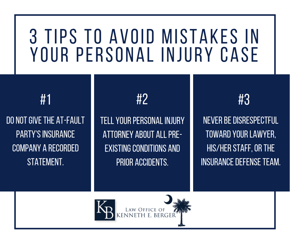 tips to avoid mistakes in your personal injury case