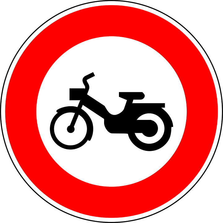 be aware of mopeds sign