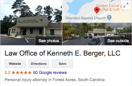 5 star personal injury attorney reviews in South Carolina