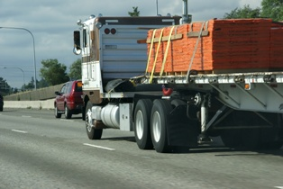 Semi-Truck Loaded With Lumber on a South Carolina Road
