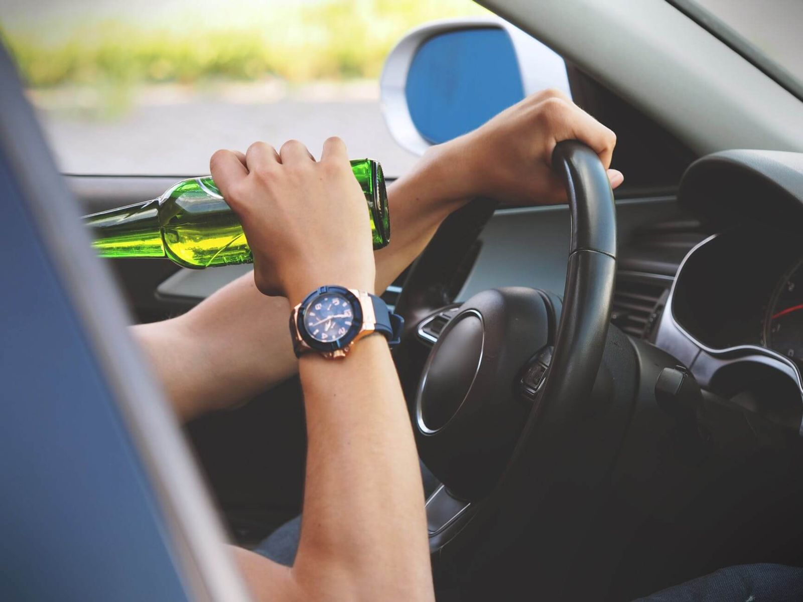 drinking a beer while driving