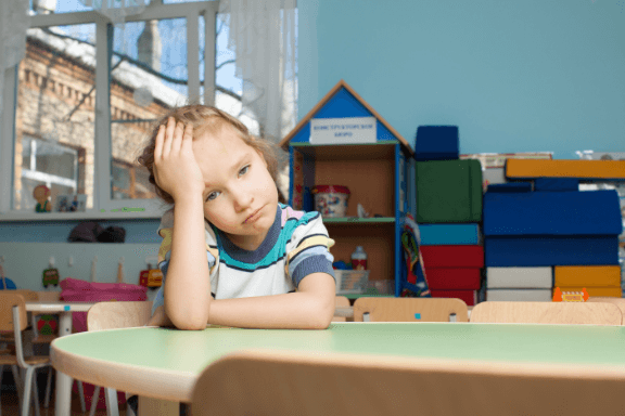 Sad child at daycare