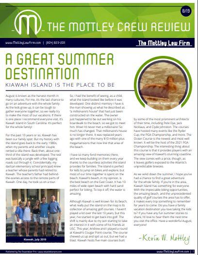 August 2019 Newsletter Cover