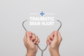 Traumatic Brain Injury Text With a Stethoscope