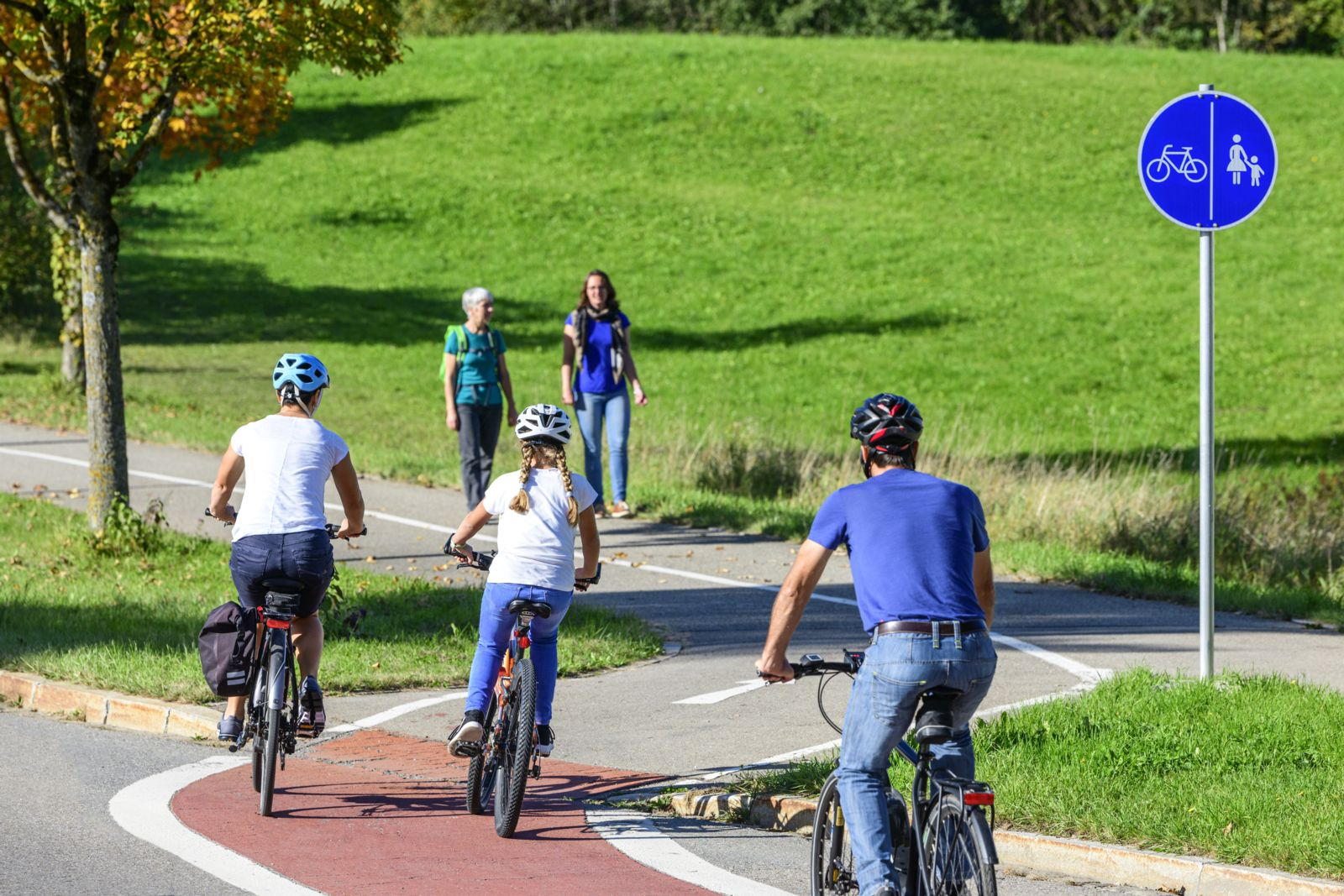 Bicyclists on bike path