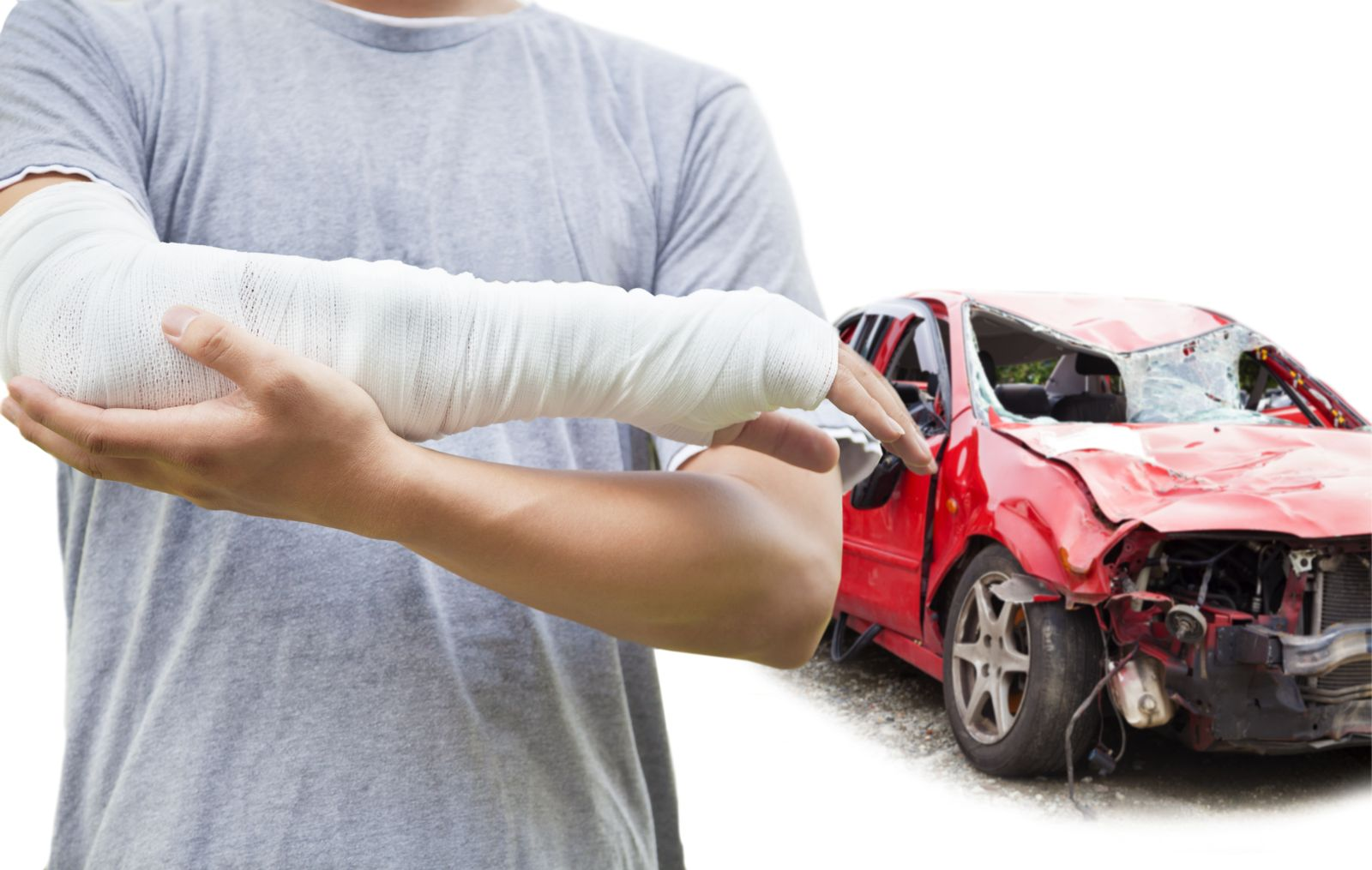 Man Holding Bandaged Arm in Front of Wrecked Car