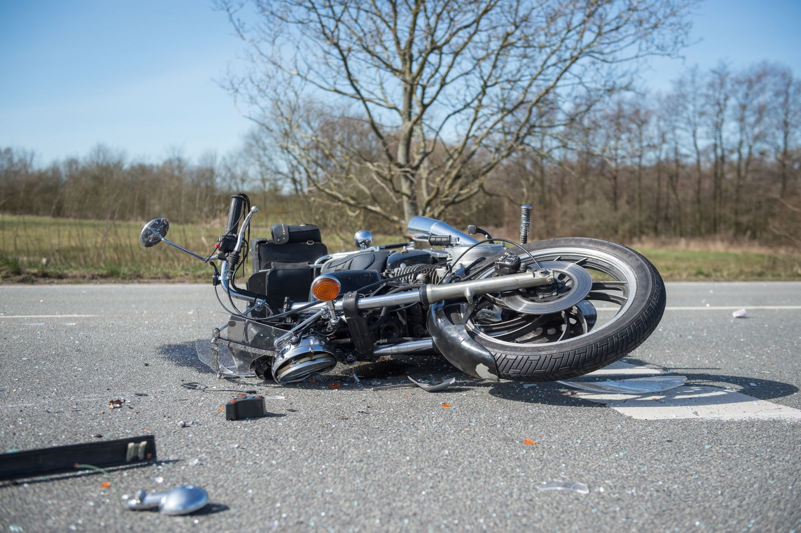 Motorcycle Laying on Its Side After an Accident