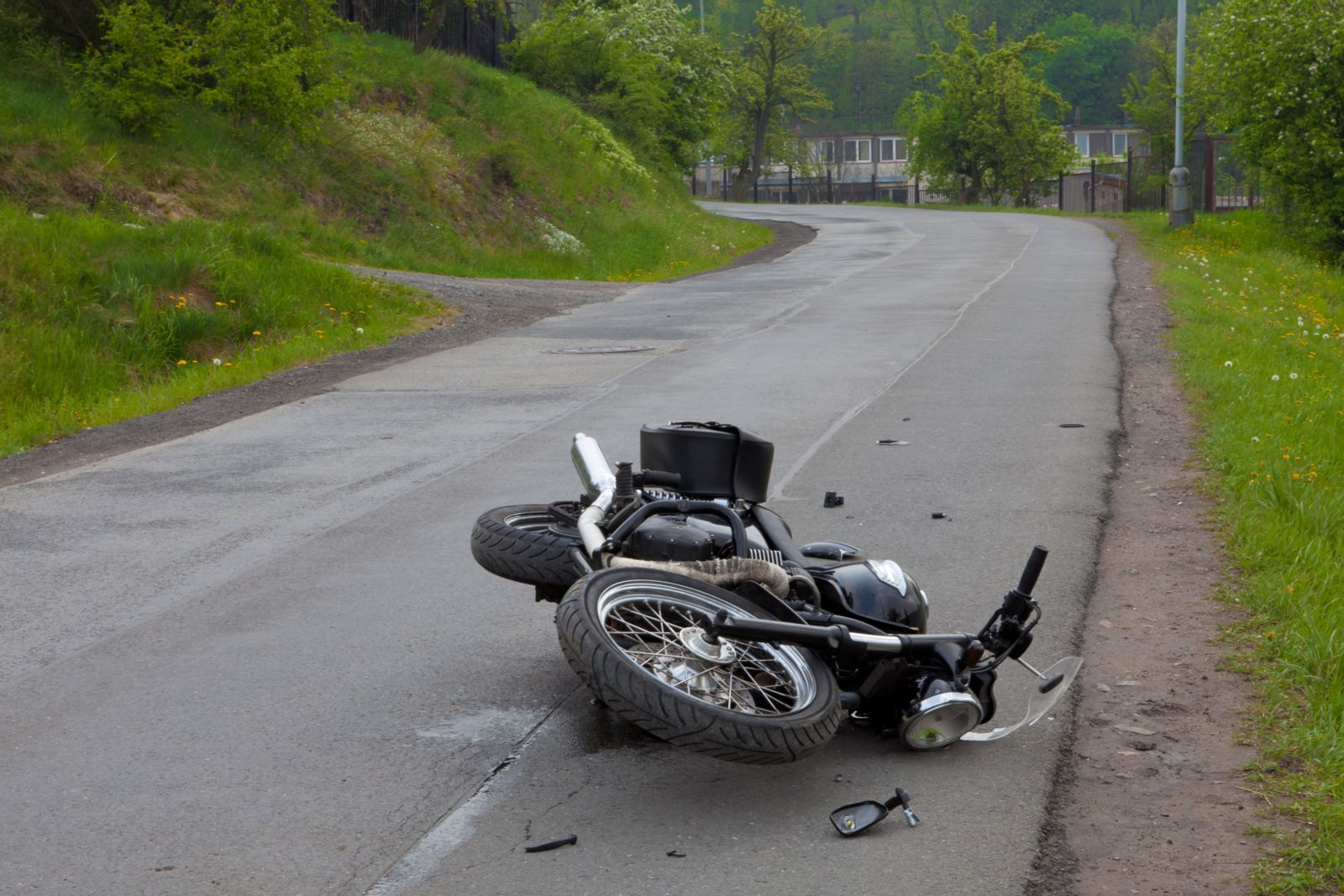 Motorcycle on the Road After an Accident