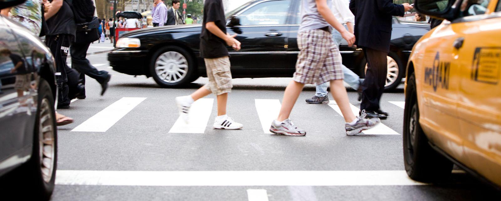 Pedestrians walking in crosswalk