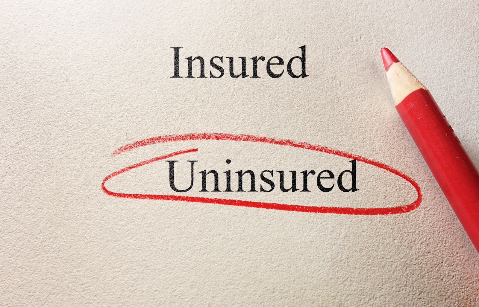 Uninsured Circled on Paper