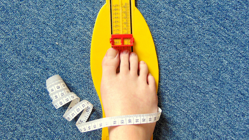 adult measuring foot