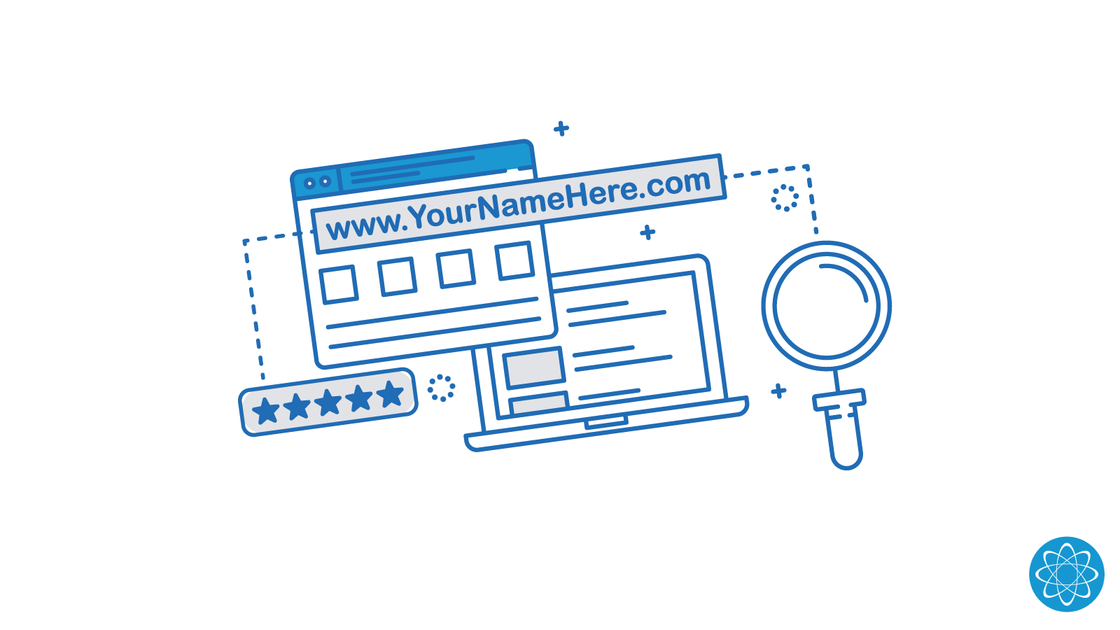 Blue Illustration of a Laptop and Website depicting the URL search and selection