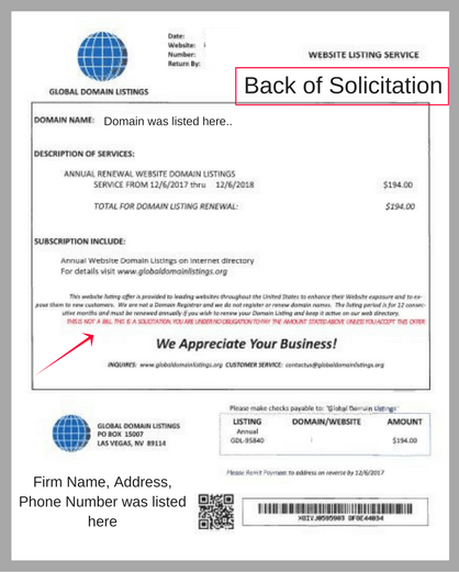 Example of invoice solicitation letter (back)