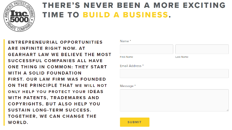 A contact form that neglects to motivate the reader